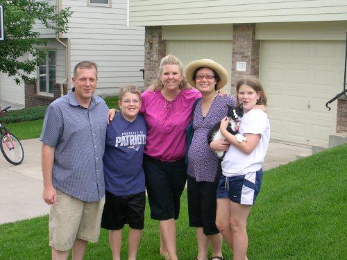 Ken, Joshua, Teresa, Sabina, and Hannah with Blackie the Cat