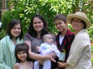 Elizabeth, Caroline, Pam, Baby Joshua, Nathaniel, and Sabina